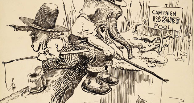 cartoon of elephant and donkey fishing