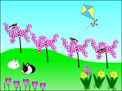 spring scene with ideas for fractions