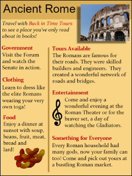sample of student-created travel brochure for Ancient Rome