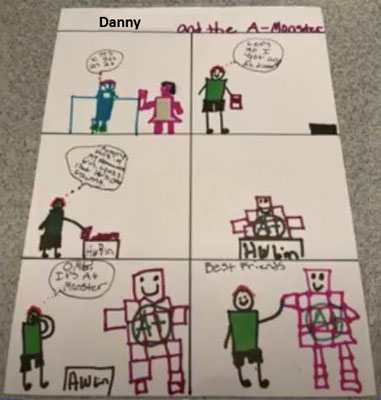 student character trait diagrams, one for a penguin and one for a book character