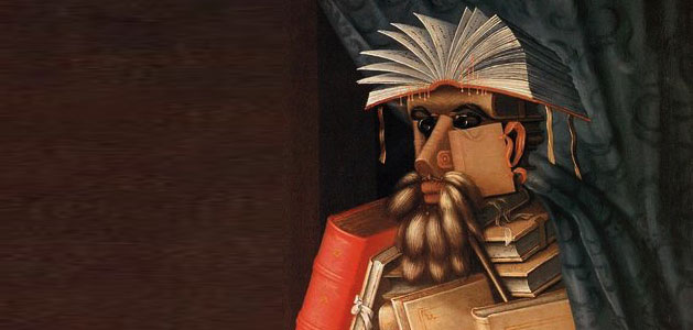 partial image of Guiseppe Arcimboldo's The Librarian