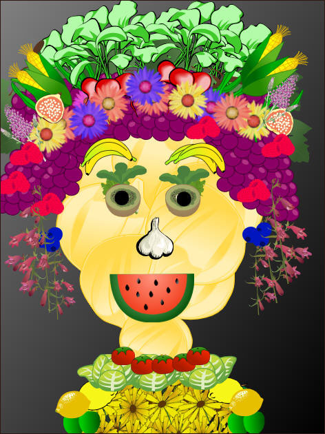 sample self-portrait created in the style of Guiseppe Arcimboldo