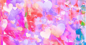 pastel background with paintstrokes and hearts